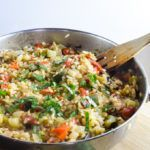 Simple one pot ratatouille rice - a healthy late summer meal that all cooks in 40 minutes and just one pan! Gluten-free, vegetarian, vegan recipe.