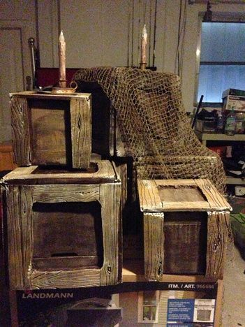 """DIY: Pirate Crates. Don't want all the work? How about finding old crates and draping with netting. How perfect would these be for our Halloween """"Pirates Nightmare in the Caribbean"""" Party? Arrrr!"""