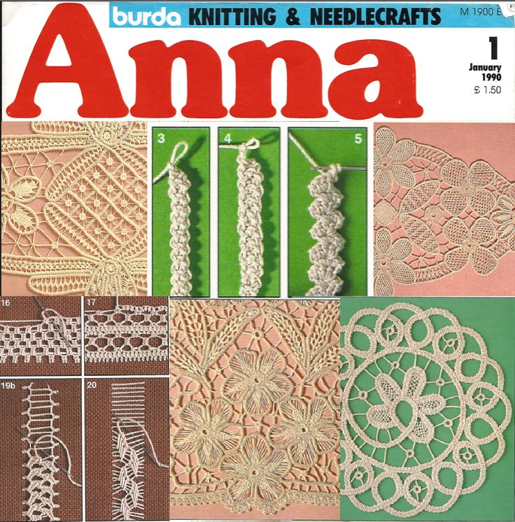 Fiber Art Reflections: Macramé Crochet Lace projects (also known as Romanian Point Lace Crochet, Tape Lace, Braidwork, Renaissance Lace) in Anna Burda magazine, January 1990.