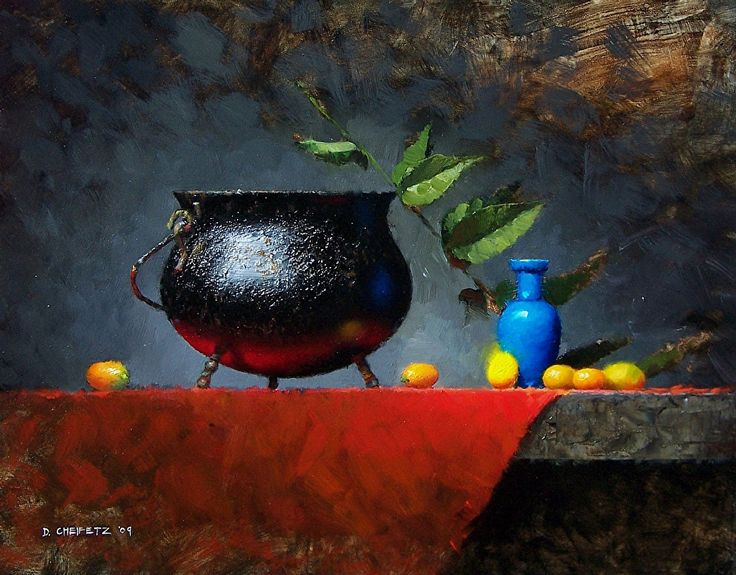 Cauldron and Kumquats by David Cheifetz Oil ~ 11 x 14