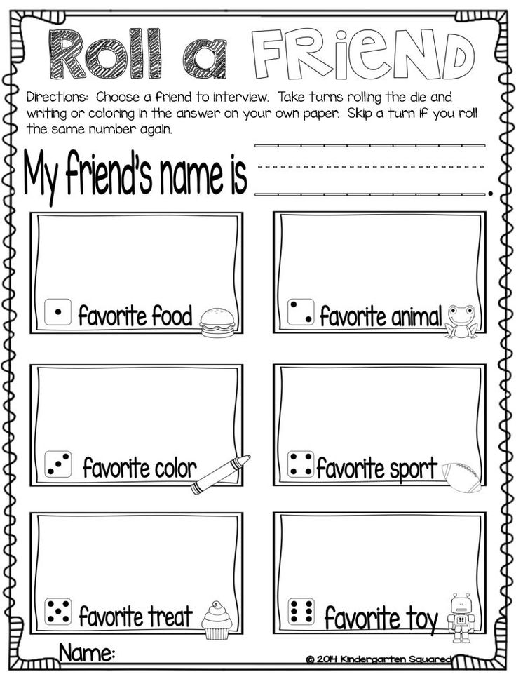 reading activity Objective: Given a buddy...the child will be able to fill out information about their buddy. Skills: fine motor skills