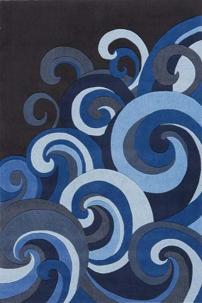 Cool blue tidal wave rug