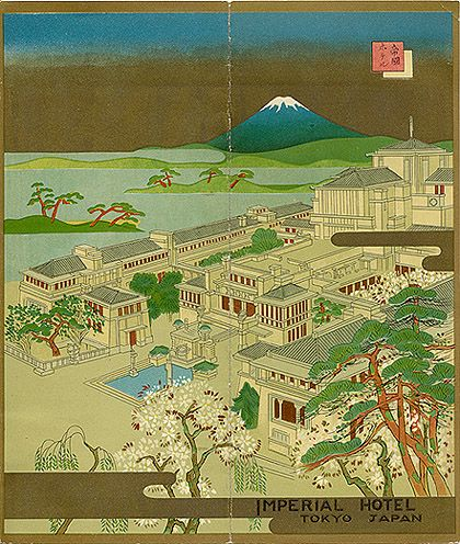"Travel brochure for the ""Imperial Hotel, Tokyo, Japan,"" circa 1935.    Note; The architect of the hotel was Frank Lloyd Wright. Unsigned.Design Inspiration, Architects, Tokyo Japan, Imperial Hotels, Architecture Inspiration, Frank Lloyd Wright, Hotels Tokyo, Japan Brochuresart, Japanese Brochures"