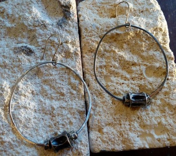 Large Shark Vertebrae Hoop Earrings by LittleBuffaloDesigns, $62.00