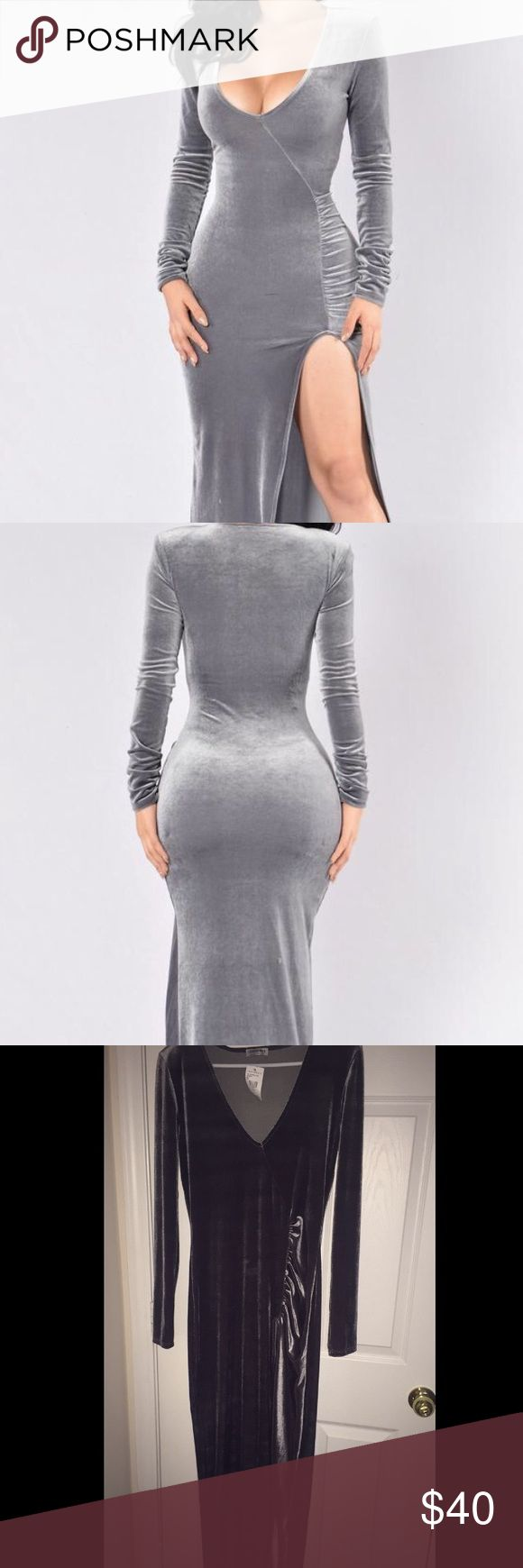 Grey party dress Runs big, stretch, fit well, never worn. Price is negotiable ‼️‼️‼️ Fashion Nova Dresses Long Sleeve