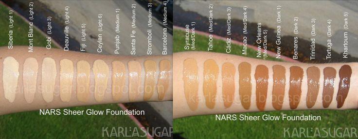 Nars Sheer Glow Foundation Swatches Makeup Pinterest