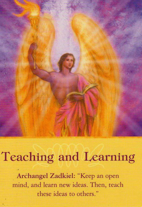 """Daily Inspiration Message is Archangel Zadkiel, Teaching and Learning, """"Keep an open mind, and learn new ideas. Then, teach these ideas to others. 10/01/2013 soulfulheartreadings.com"""