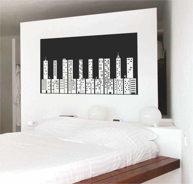 Vinilo decorativo de un skyline en el cual sus edificios - Vinilos decorativos musicales ...
