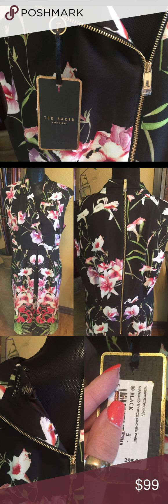 Ted Baker dress size 5 orig $295 NEW Black dress with tropical flowers by Ted Baker size 5 .New with tags Ted Baker Dresses Midi