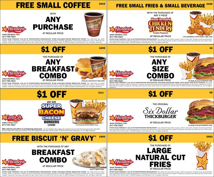 This is an image of Enterprising Hardees Coupons Printable