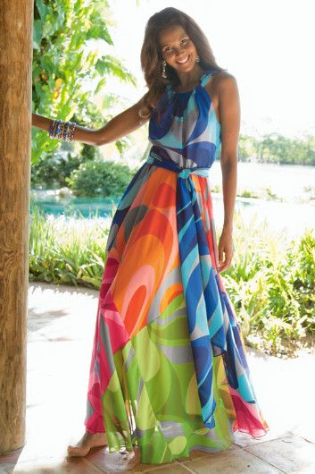 Carnivale Dress I - Brightly Colored, Bold Print Maxi Dress, Dresses, Clothing | Soft Surroundings $118