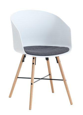Jídelní židle KALVEHAVE bílá/dub | JYSK