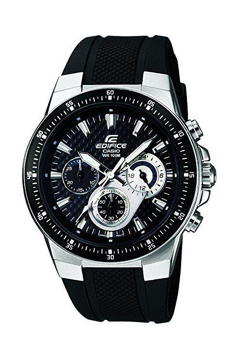 CASIO Edifice EF-552-1AVEF - Reloj de cuarzo con correa de resina para hombre (con cronómetro, luz), color negro