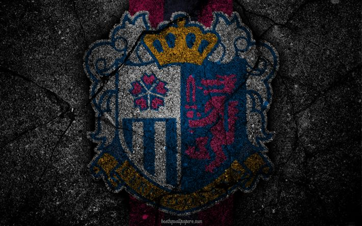 Download wallpapers Cerezo Osaka, logo, art, J-League, soccer, football club, C-Osaka, asphalt texture