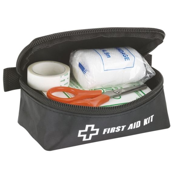 Multi Functional First Aid Kit Scissors 5 Adhesive Bandages Gauze Roll Gloves Tape Roll 5 Safety Pins Flex Adhesive Bandage 3 Alcohol Pads Triangular Arm Sling Wound Pad