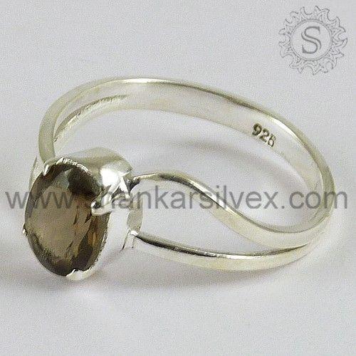 Smoky Quartz Designer Silver Ring