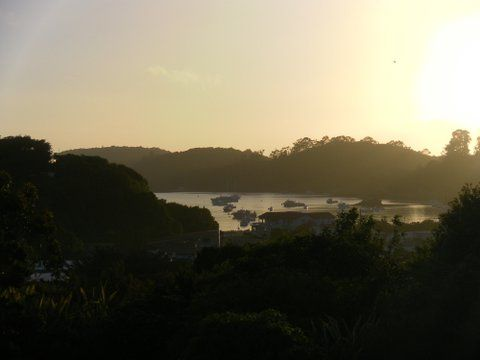 Sunrise over Halfmoon Bay, Oban, View from Kowhai Lane Lodge