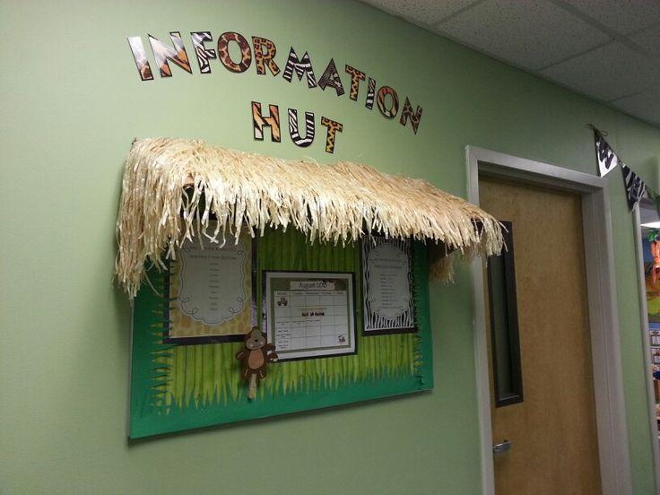 Information hut outside classroom with class schedule, class list & calendar.
