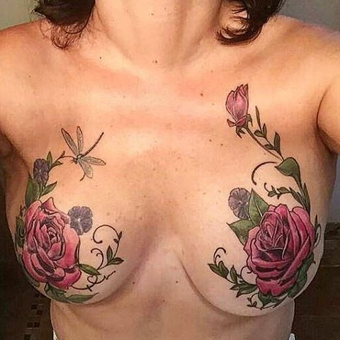 breasts with tattoos