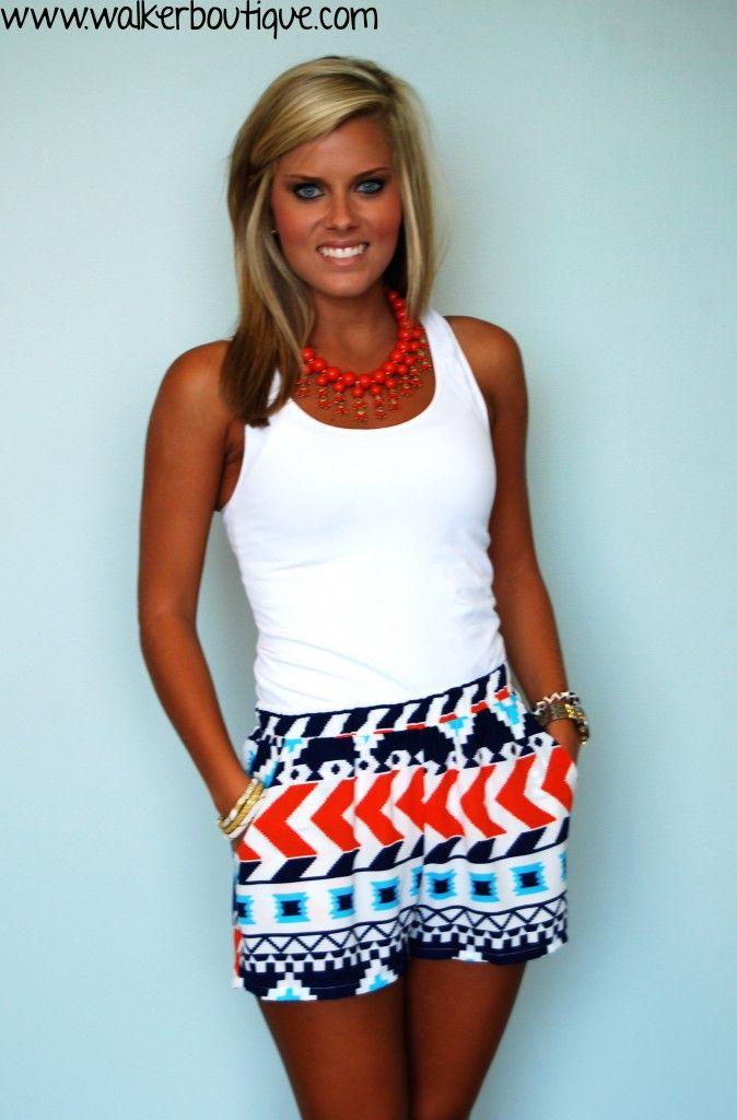 Aztec Shorts in Orange - Walker Pharmacy & Boutique
