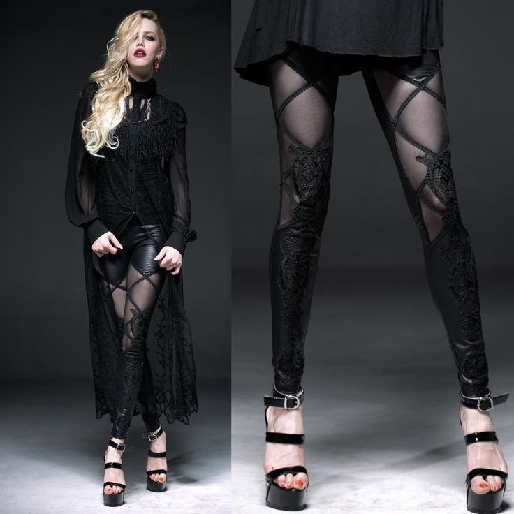 PUNK RAVE Bootfake Leggings Spitzenleggings EDEL PUNK GOTHIC LEGGIN TRANSPARENT in Kleidung & Accessoires, Damenmode, Leggings | eBay