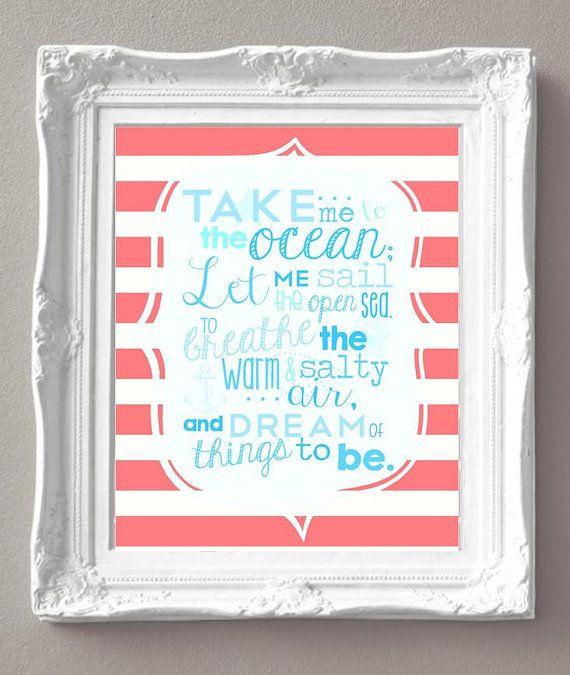 Take Me to the Ocean...  Girl Nautical  - Mermaid Bedroom Art - by sweetleighmama, $9.99