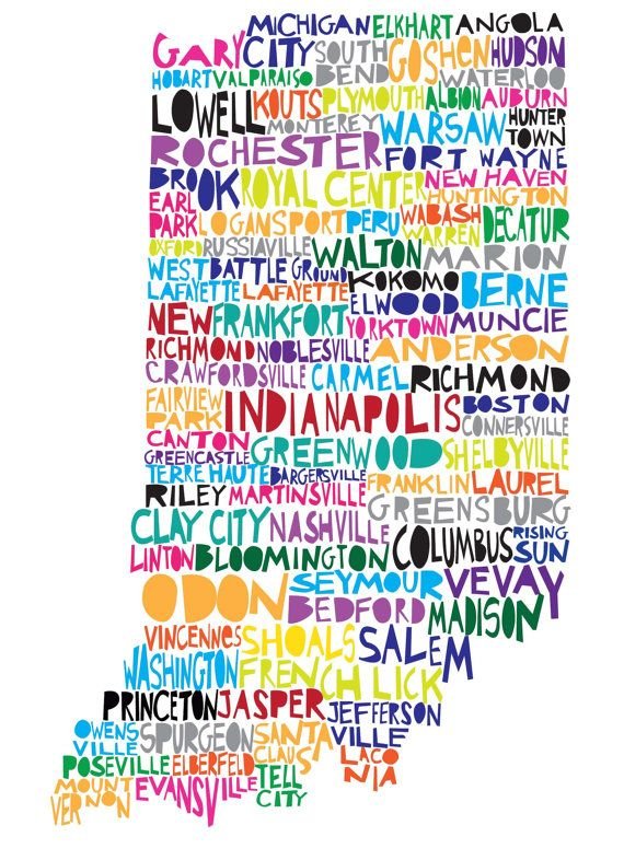 INDIANA Digital Ilustration Indiana State Print Map with Cities Listed. $15.00, via Etsy.