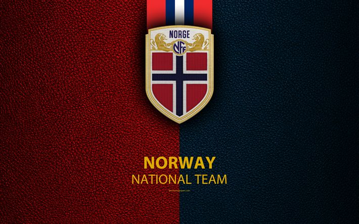 Download wallpapers Norway national football team, 4k, leather texture, coat of arms, emblem, logo, football, Norway