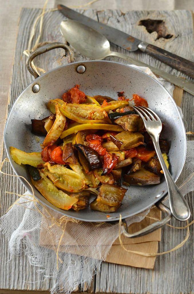 Légumes d'été rôtis au four presque confits {recette vegan}