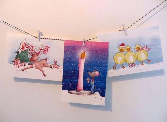 Set met 2x 3 verschillende kerstkaarten van Illu-Straver.