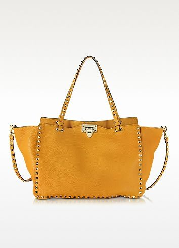 Rockstud Mandarin Sorbet Leather Medium Tote - Valentino
