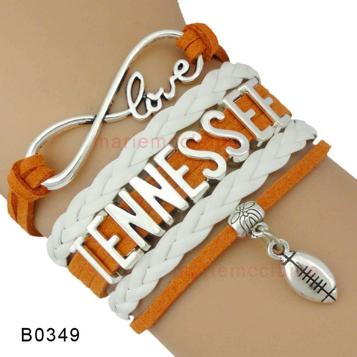 (10 Pieces/Lot) Infinity Love NCAA  Tennessee Volunteers Football Bracelet Orange White Best Gift Custom Any Theme Drop Shipping