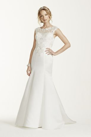 this cap sleeve satin trumpet gown is on trend and the perfect choice for your special