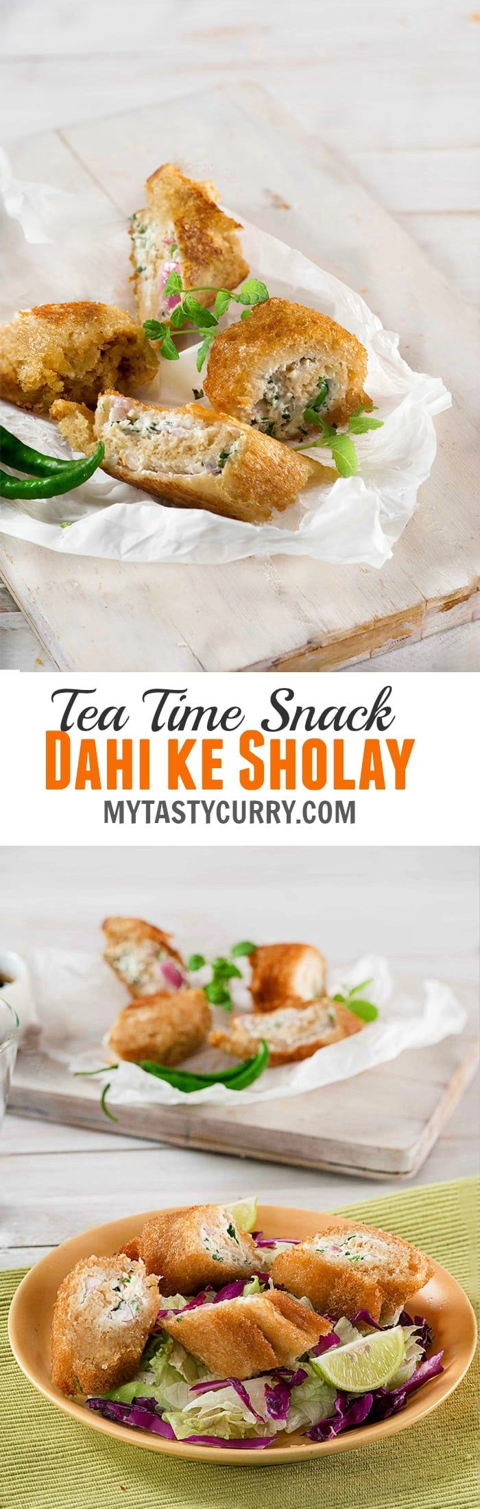 Dahi ke Sholay is crispy tea time Indian snack in which hot spicy hung curd /hung yogurt is wrapped in bread slices and then deep fried / air-fried/ pan fried depending on how healthy you want it.