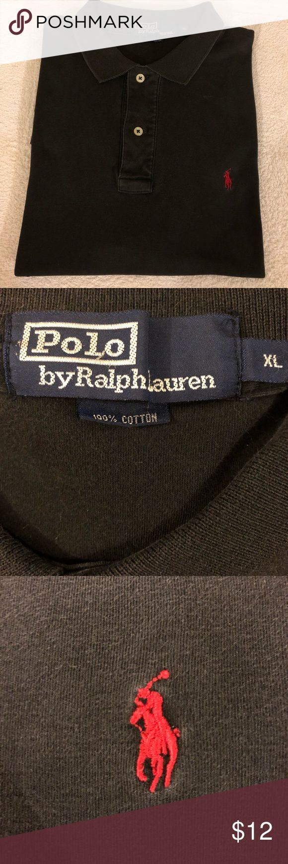Polo Ralph Lauren Solid Black Polo Shirt XL Polo Ralph Lauren Solid Black With Red Pony Logo Short Sleeve Polo Shirt size XL! Great condition! Please make reasonable offers and bundle! Ask questions! :) Polo by Ralph Lauren Shirts Polos
