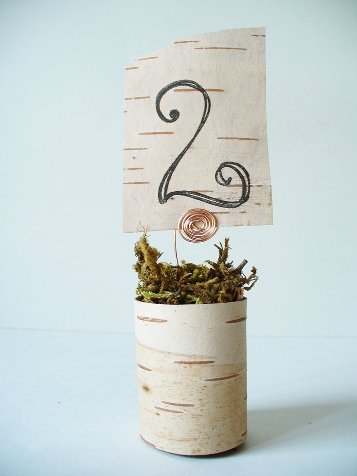 Table Number Holders Birch Bark - Rustic Wedding, Woodland Wedding, Country Wedding Quantity 9