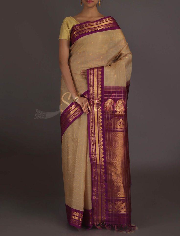 Shyamala Beige And Purple Plush #GadwalSilkCottonSaree