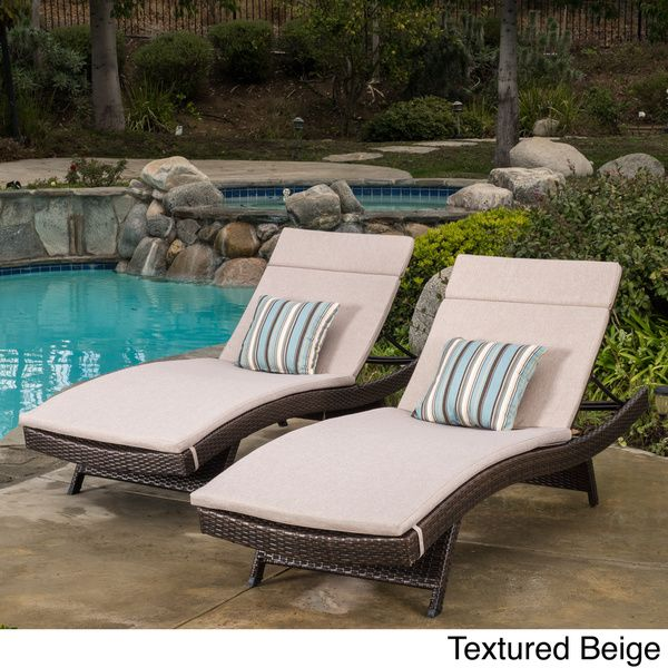 Toscana Outdoor Wicker Adjustable Chaise Lounge With Cushion (Set Of By  Christopher Knight Home (Brown Wicker With Textured Beige Cushion), Patio  Furniture ...