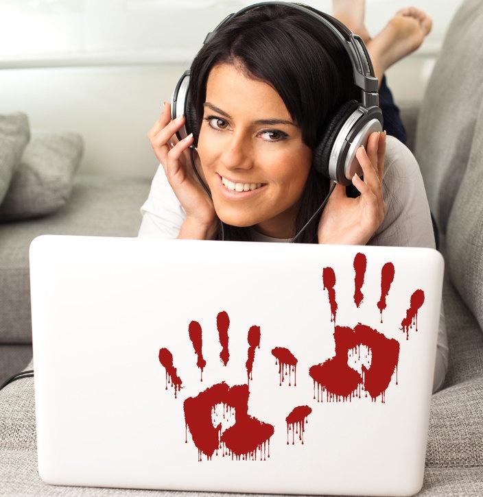 Bloody Hand Prints Vinyl decal wall art sticker Blood handprints Zombie decorations Murder Scene Prop. $10.00, via Etsy.