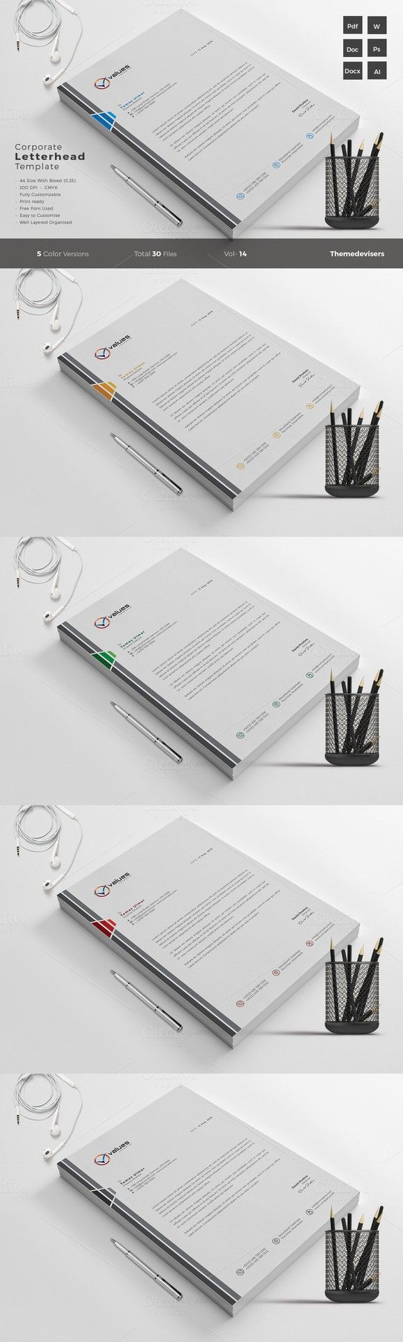Corporate Letterhead Template Word. Stationery Templates. $5.00