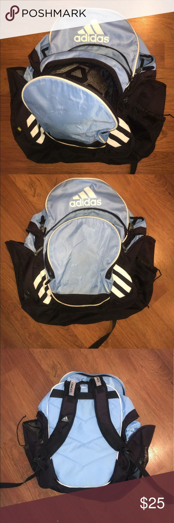 Adidas Soccer/Sports Bag Excellent bag in great shape. Holds ball, water, phone, & tons more. External pockets so gear like shin guards won't have your whole bag smelling! Load spring so even with the bag full, it does not feel to heavy on the shoulders. adidas Bags Backpacks