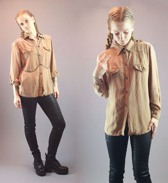 80s Button Up Top Vintage Western Shirt by BadassVintageRevival
