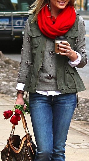 embellished sweatshirt army green vest white button down jeans scarf