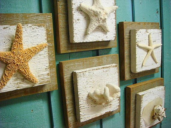 Starfish Driftwood Sign Set Seashells Coral Wall Art Beach House Decor - Set of 5