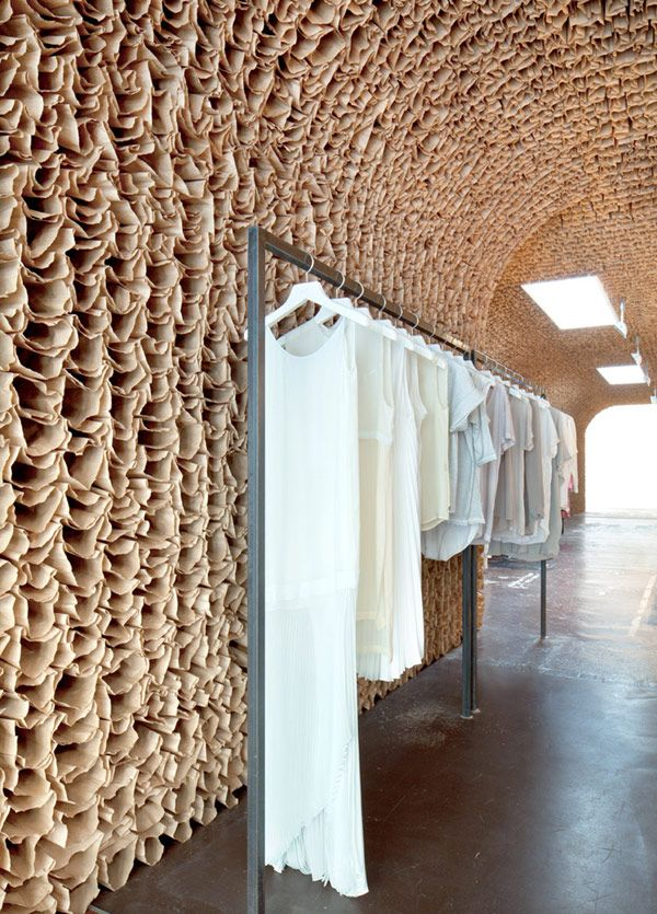 25000 PAPER BAGS MAKES A GOOD WALL TEXTURE AT OWN IN NEWYORK