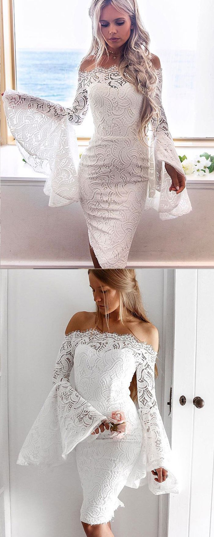 Off the shoulder white lace knee length homecoming dress with bell
