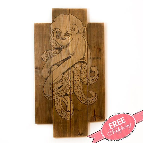 Octopus art Octopus print Ocean decor Ocean art Beach house decor Rustic beach art Beach wall art Lake home decor Beach nursery decor Pallet • Handcrafted and painted by North Carolina artisans • Created with naturally distressed, reclaimed wood • Unique beach style wall art for any