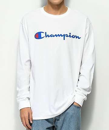6e99adbe2 Champion Script Logo White Long Sleeve T-Shirt | Mens Shirts | White ...