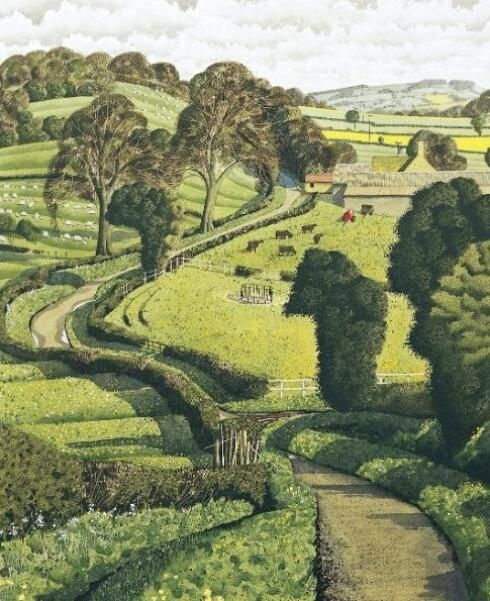 'Ancient Lane' (Yorkshire Dales) by Simon Palmer (b.1956) Watercolor.