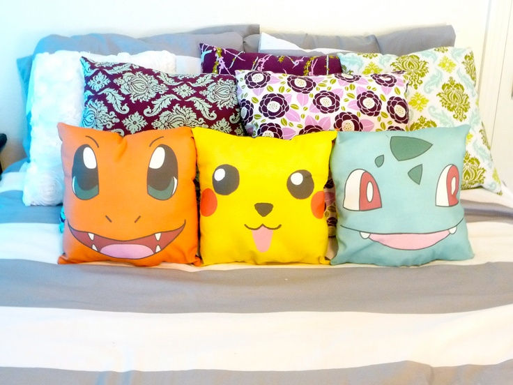 Pokemon character throw pillows. $30.00, via Etsy.